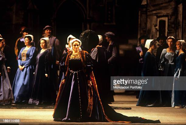 Italian soprano Cecilia Gasdia plays the role of Anna Bolena in the opera of the same name Milan 10th March 1982