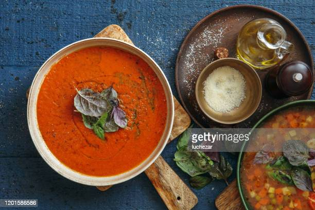 italian soups - soup stock pictures, royalty-free photos & images