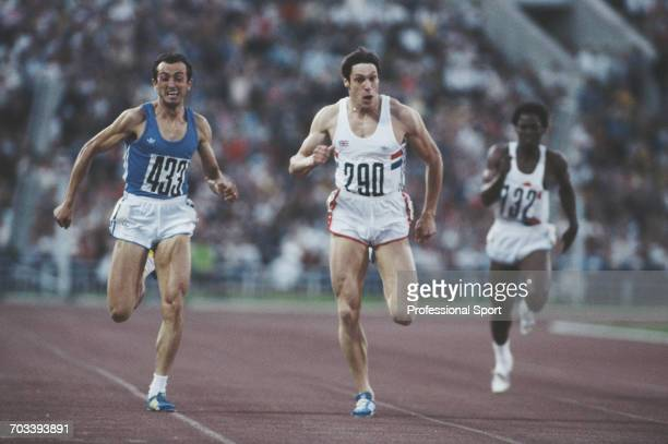 Italian sprint athlete Pietro Mennea of the Italy team competes with Allan Wells of the Great Britain team in the final of the Men's 200 metres event...