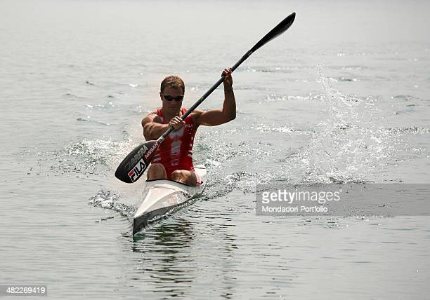 Italian sprint canoer Antonio Rossi trains in 2008 on the lake of Pusiano Province of Lecco Italy 2008
