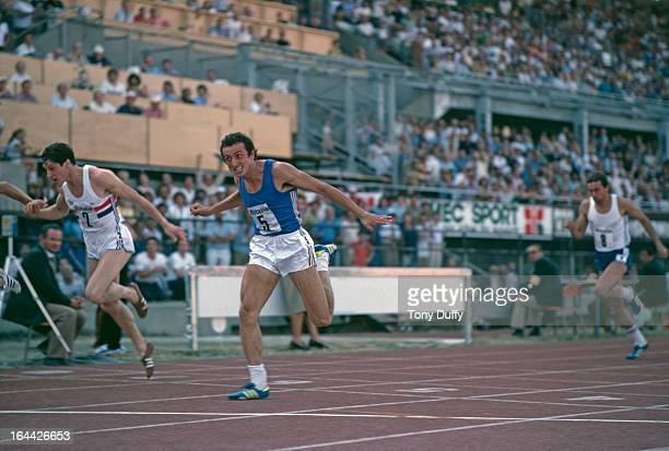 Italian sprinter Pietro Mennea is beaten by Allan Wells of Great Britain in the European Cup final of the 200 metres in Turin Italy August 1979