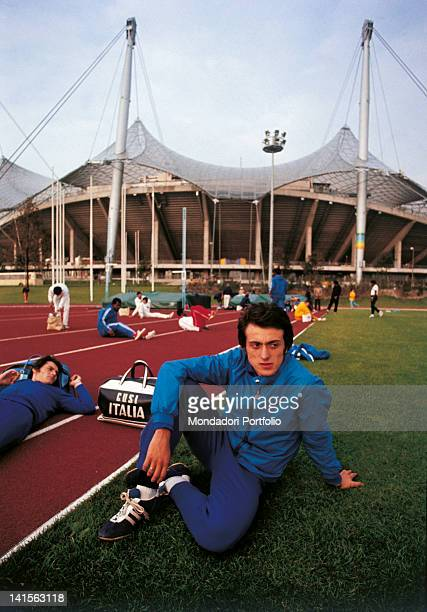 Italian sprinters Pietro Mennea and Vincenzo Guerini waiting near the Olympiastadion before the Olympic competition in which they would manage to...