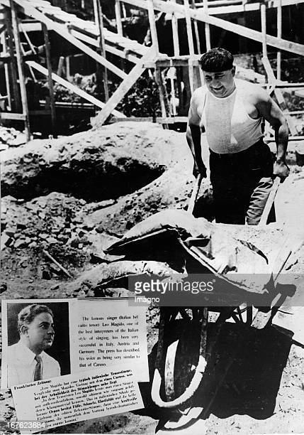 Italian star tenor Leo Magido working on a construction site in Tel Aviv He is also a member of the Kammeroper Palestine About 1930 Photograph by...