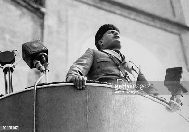 Italian statesman Benito Mussolini making a speech in Milan