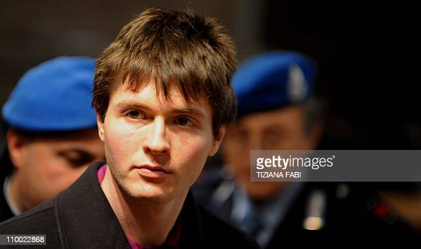 Italian student Raffaele Sollecito takes place in court before the start of a session of his appeal trial in Perugia's courthouse on March 12 2011...
