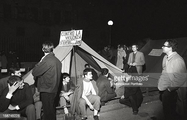 Italian students and researchers of the Cattolica University camping in largo Gemelli and doing a hunger strike They're protesting against the rector...
