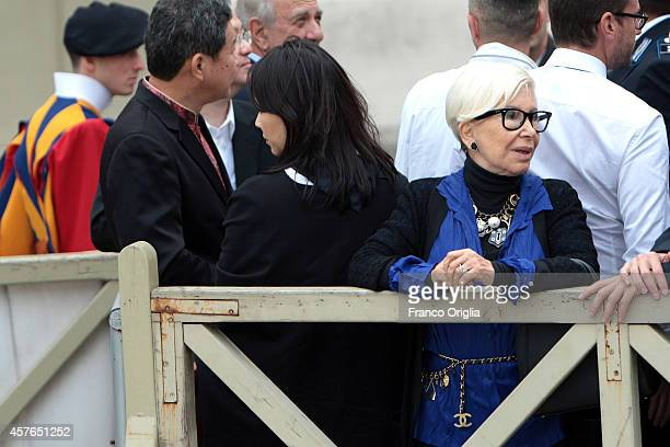 Italian stylist Anna Fendi attends Pope Francis' weekly audience in St Peter's Square on October 22 2014 in Vatican City Vatican Speaking to the...