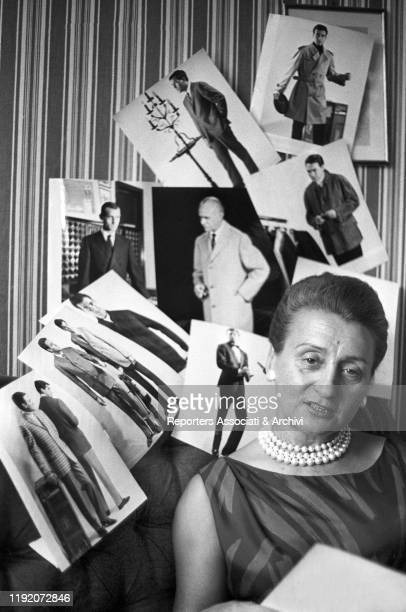 Italian stylist Micol Fontana posing in her atelier. Italy, 1959