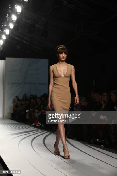Italian stylist Sabrina Persechino presenting a new collection at Altaroma 2019 hosted in Pratibus district in Rome