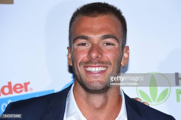 Italian swimmer Gregorio Paltrinieri on the blue carpet of the Gala I Meravigliosi, an event organized by the Italian swimming federation to...