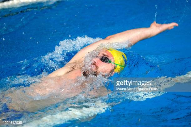 Italian swimmer Marco Orsi athlete of the Italian National Team attends his first practice following the safety protocols established by the...