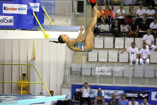 Italian swimmer Tania Cagnotto during the 4 Nations International diving 3m springboard in Turin where she won the first place while second place...