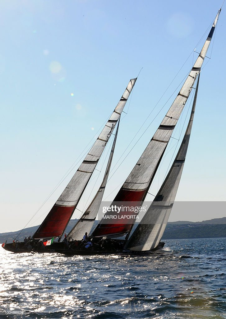 Italian Team Azzurra (L) races with Italian Mascalzone Audi Team during their match race regatta of the Louis Vuitton Trophy on May 24, 2010 at La Maddalena island in Sardinia. Ten teams battle out over a two-week regatta begun on May 22 until June 6, 2010.
