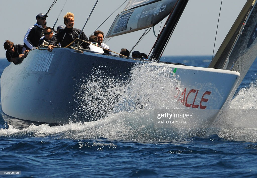 Italian Team Azzurra sails before the start of their race against French team Aleph at the Louis Vuitton Trophy on May 25, 2010 at La Maddalena island in Sardinia. Ten teams battle it out over a two-week regatta begun on May 22 until June 6, 2010.