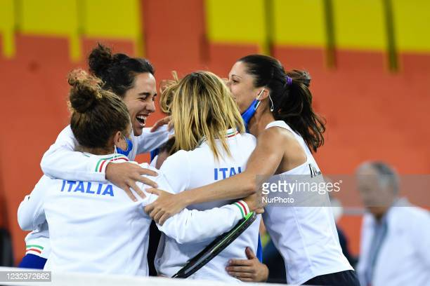 Italian team celebrating after winning against Romania during the Billie Jean King cup in Cluj-Napoca, 17 April 2021