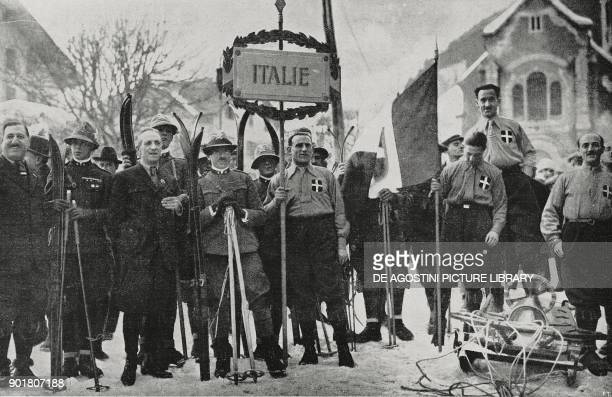 Italian team during the inaugural parade at the Winter Olympics in Chamonix France from L'Illustrazione Italiana Year LI No 6 February 10 1924