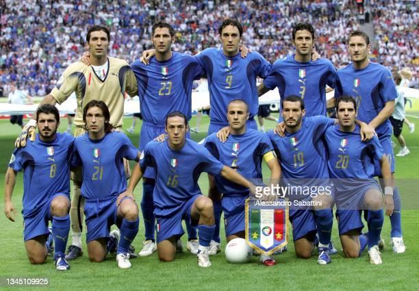 Italian team line up back row Gianluigi Buffon, Marco Materazzi, Luca Toni, Fabio Grosso, Francesco Totti, Front row Gennaro Ivan Gattuso, Andrea...