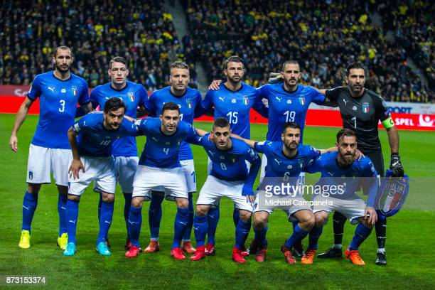 Italian team lineup during the FIFA 2018 World Cup Qualifier PlayOff First Leg between Sweden and Italy at Friends arena on November 10 2017 in Solna...