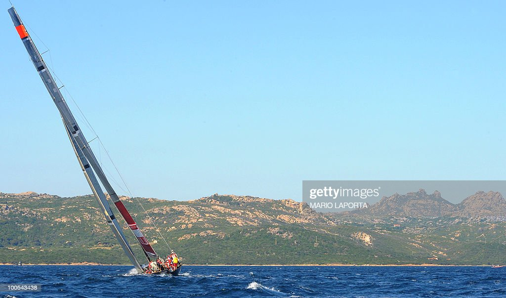 Italian Team Luna Rossa sails against Russian Sinergy Sailing Team at the Louis Vuitton Trophy on May 25, 2010 at La Maddalena island in Sardinia. Ten teams battle it out over a two-week regatta begun on May 22 until June 6, 2010.
