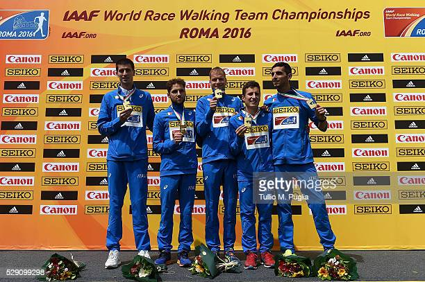 Italian team pose during award ceremony of the 50KM Race Walk at IAAF Race Walking Team Campionship Rome 2016 on May 7 2016 in Rome Italy
