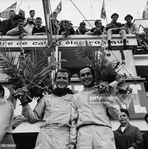 Italian team with Ludovico Scarfiotti and Lorenzo Bandini winner of the 24 Heures du Mans car race with Ferrari on June 16 1963 in Le Mans France