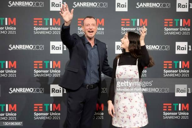 Italian television and radio presenter Amadeus and Italian actress Matilda De Angelis in the Press Room of the 71 Sanremo Music Festival. Sanremo ,...