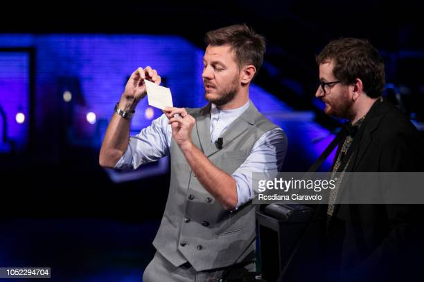 Italian Television Personality Alessandro Cattelan and Marco Villa attend E Poi C'e' Cattelan tv show at Teatro Parenti on October 16 2018 in Milan...