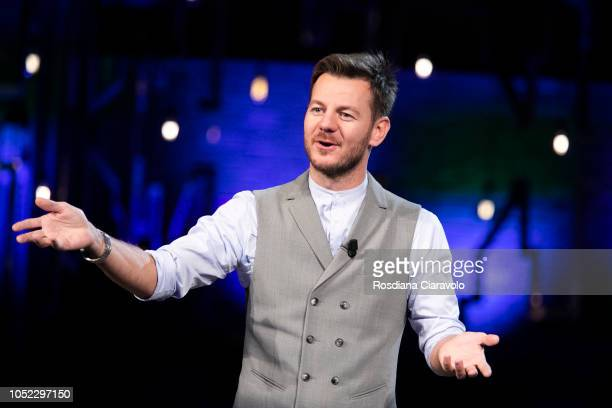Italian Television Personality Alessandro Cattelan attends 'E Poi C'e' Cattelan' tv show at Teatro Parenti on October 16 2018 in Milan Italy