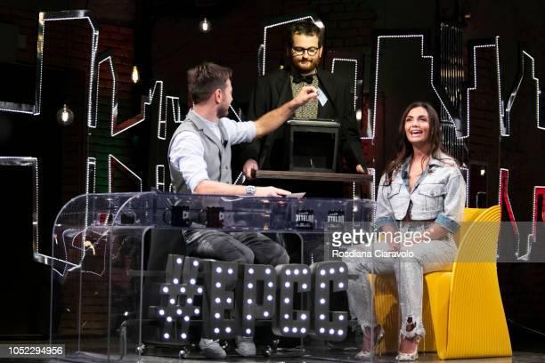Italian Television Personality and Singer Elettra Miura Lamborghini Alessandro Cattelan and Marco Valli attend E Poi C'e' Cattelan tv show at Teatro...