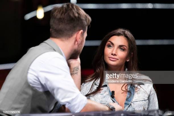 Italian Television Personality and Singer Elettra Miura Lamborghini and Alessandro Cattelan attend 'E Poi C'e' Cattelan' tv show at Teatro Parenti on...