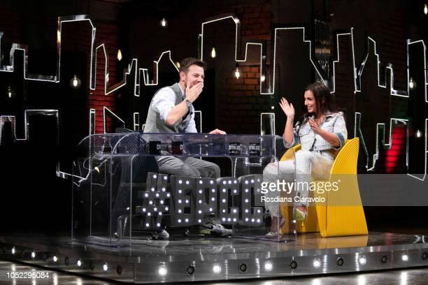 Italian Television Personality and Singer Elettra Miura Lamborghini and Alessandro Cattelan attend E Poi C'e' Cattelan tv show at Teatro Parenti on...