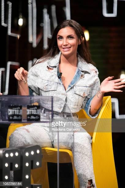 Italian Television Personality and Singer Elettra Miura Lamborghini attends E Poi C'e' Cattelan tv show at Teatro Parenti on October 16 2018 in Milan...