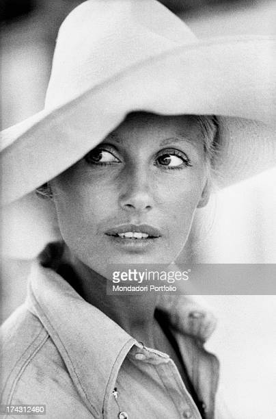 Italian television presenter and actress Gabriella Farinon wearing a hat Gaeta 1970s