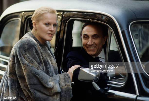 Italian television presenter Pippo Baudo with his wife, Italian soprano Katia Ricciarelli, London, 27th March 1989.