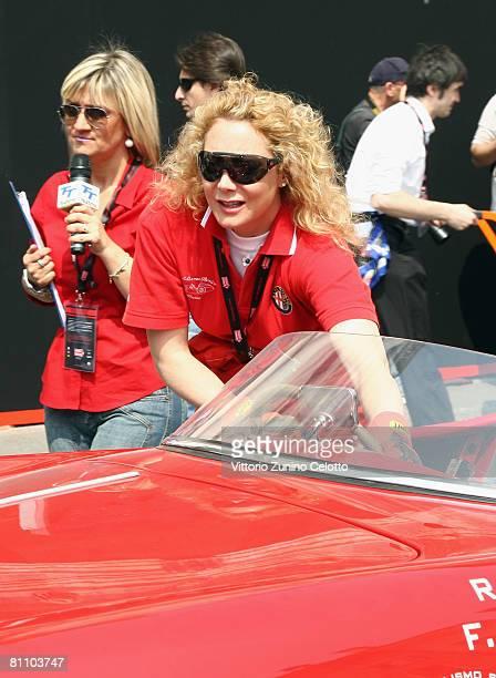 Italian Television Presenter Rossella Labate attends the Mille Miglia 2008 1000 Mile Historic Race car presentation held at Piazza della Loggia on...