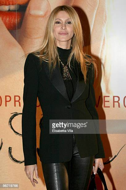 """Italian television star Adriana Volpe attends the Italian premiere for the new film, """"Melissa P"""" at the Cinema Warner Moderno on November 17, 2005 in..."""