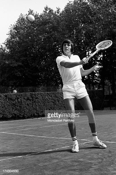 Italian tennis player Adriano Panatta getting ready to reply with a backhand volley 1960s