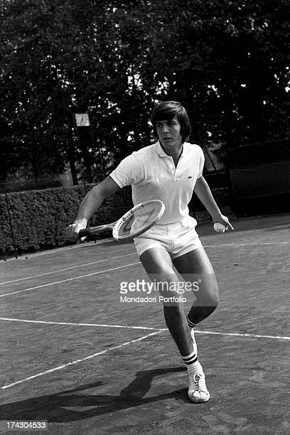 Italian tennis player Adriano Panatta getting ready to reply with a backhand stroke playing tennis 1960s