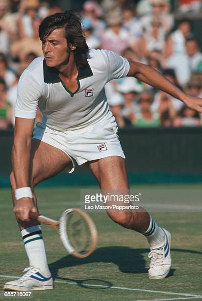 Italian tennis player Adriano Panatta pictured during competition to reach the third round of the Men's singles tournament at the Wimbledon Lawn...
