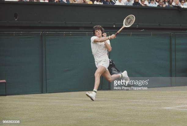 Italian tennis player Adriano Panatta pictured in action during progress to reach the third round of the Men's Singles tournament at the Wimbledon...