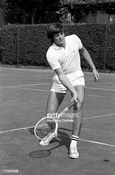 Italian tennis player Adriano Panatta playing tennis 1960s