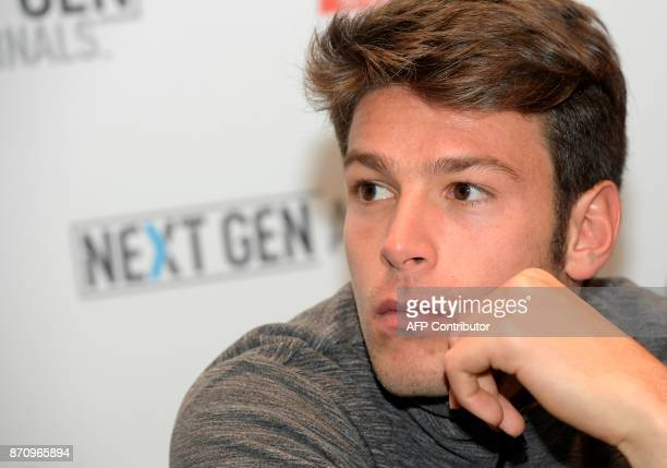 Italian tennis player Gianluigi Quinzi is pictured on November 6 2017 in Milan during the Media day prior to the first edition of the Next Generation...