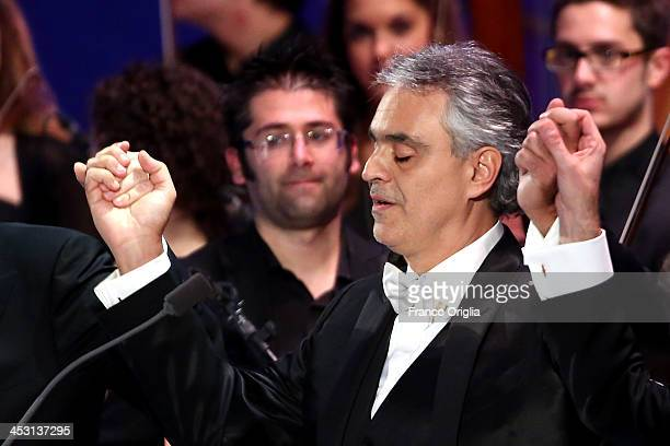 Italian tenor and singersongwriter Andrea Bocelli performs at the Paul VI Hall for a benefit concert for the Pediatric Hospital 'Bambino Gesu' on...