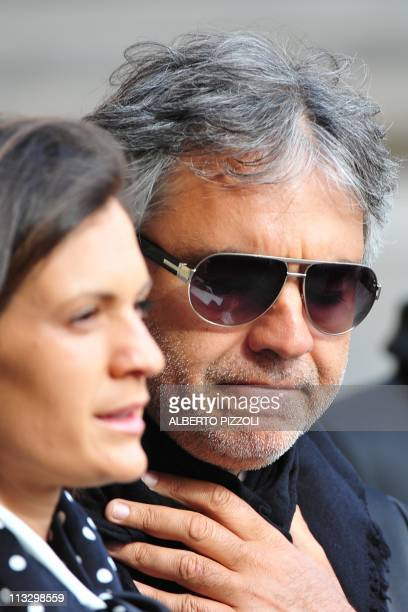 Italian tenor Andrea Bocelli and his wife Veronica Berti arrive for the beatification ceremony of late pope John Paul II on May 1 2011 at St Peter's...