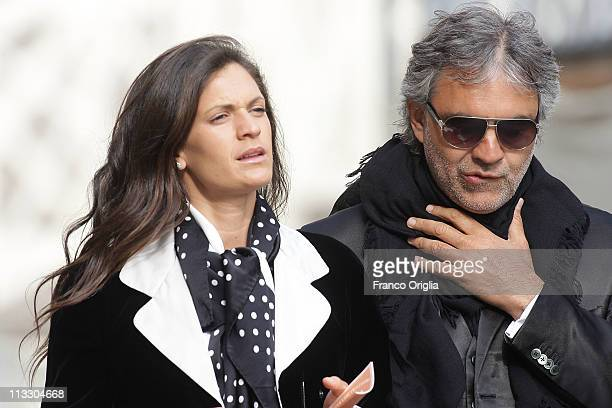 Italian tenor Andrea Bocelli and his wife Veronica Berti attend John Paul II Beatification Ceremony held by Pope Benedict XVI on May 1 2011 in...