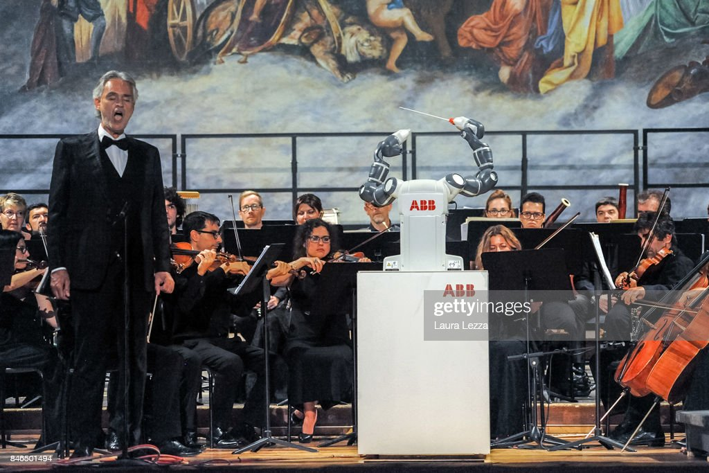 Andrea Bocelli Performs With Robotic Orchestra Conductor : News Photo