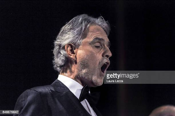 Italian tenor Andrea Bocelli performs on stage with Robotic Orchestra conductor Yumi and the Orchestra Filarmonica di Lucca at Teatro Verdi on...
