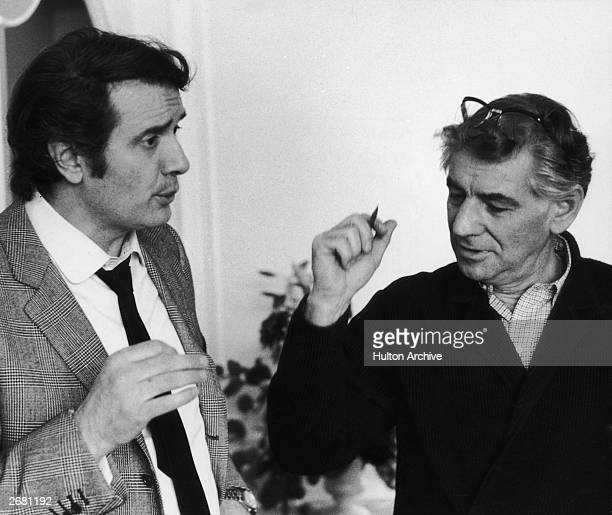 Italian tenor Franco Corelli with American composer Leonard Bernstein February 1970