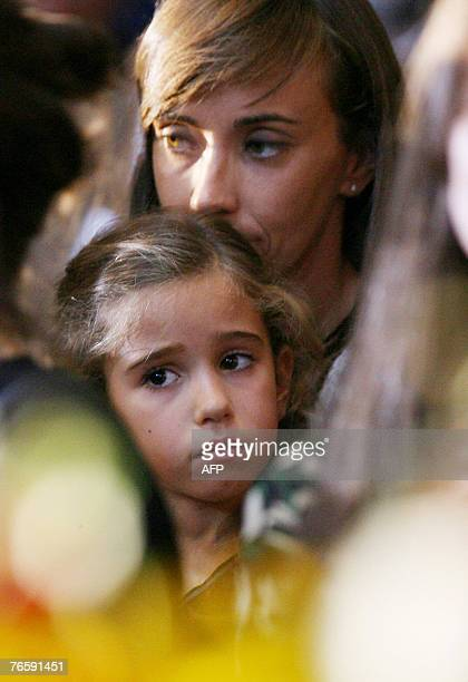 Italian tenor Luciano Pavarotti and Nicoletta Mantovani daughter Alice attends a funeral of the Italy's opera legend at Modena's Romanesque cathedral...