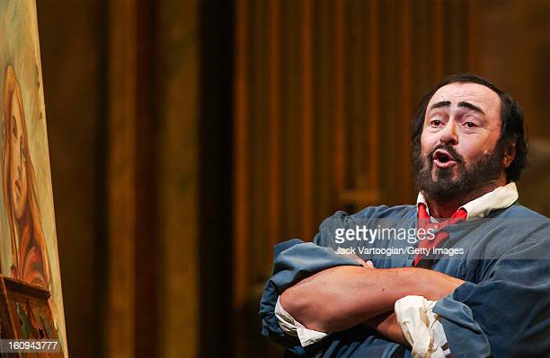 Italian tenor Luciano Pavarotti in the final dress rehearsal of the Metropolitan Opera/Franco Zeffirelli production of Giacomo Puccini's 'Tosca,' New...